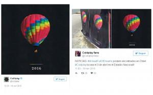 Publicación de Coldplay y reacción de fans.